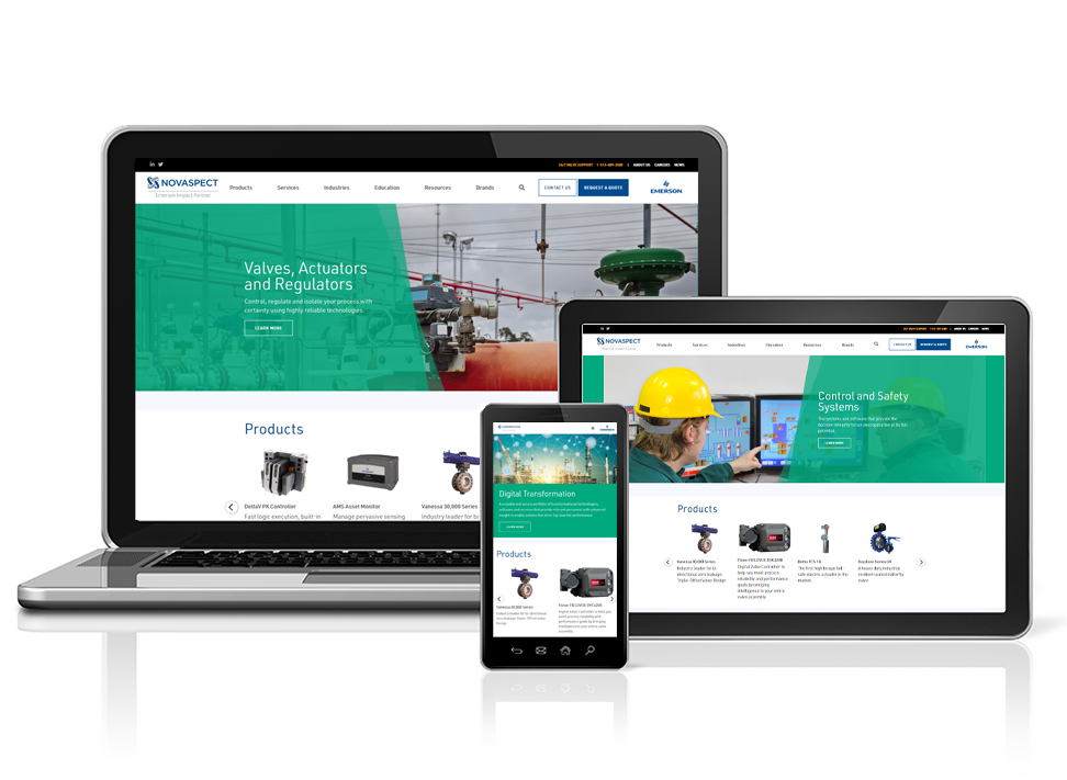 Novaspect's newly redesigned website viewed on various devices